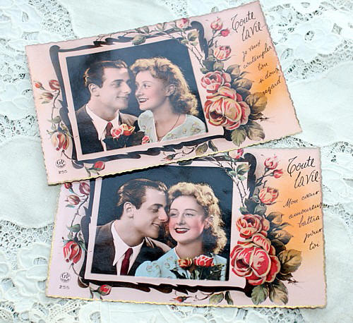 Set of 2 Vintage French Romantic Photographic Postcards La Vie