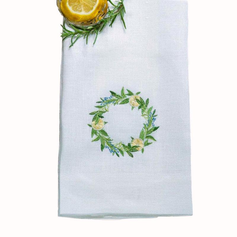 Fresh Lemon Wreath Linen Towel