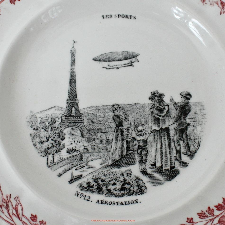 19th Century French Assiettes Parlantes LES SPORTS Creil & Montereau Zeppelin Set of 4