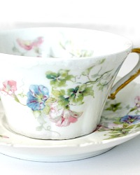 Antique French Limoges Haviland Morning Glory Teacup and Saucer