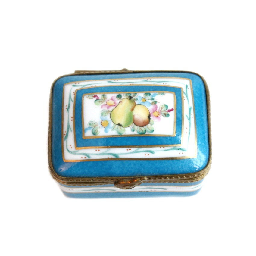 Limoges Hand Painted Miniature Blue Porcelain Box with Pears