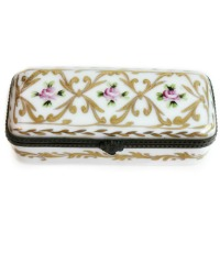 Hand Painted Gilt and Pink Rose Floral Limoges Stamp Box