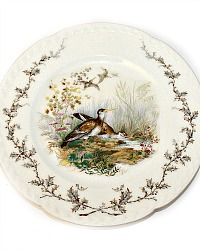 19th Century French Haviland Limoges Game Bird Plate Landscape Scene
