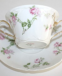 Antique French Haviland Limoges Schleiger 31A Pink Rose Bouillon Cup & Saucer