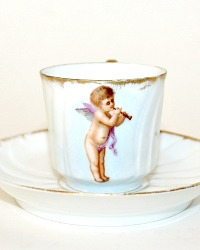 Antique 1870 French Limoges Porcelain Miniature Demitasse with Cherub