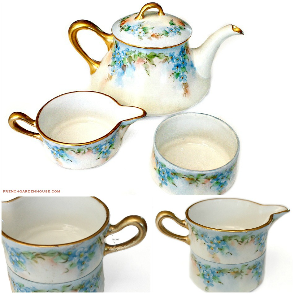 Antique French Limoges Hand Painted Tea for One Set B & Co.
