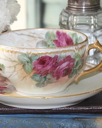 Antique French Limoges Hand Painted Limoges Roses Tea Cup