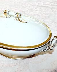 Antique White & Gold Porcelain Tureen Gilt Rope Handles