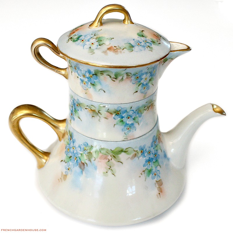 Antique french limoges hand painted tea for one set