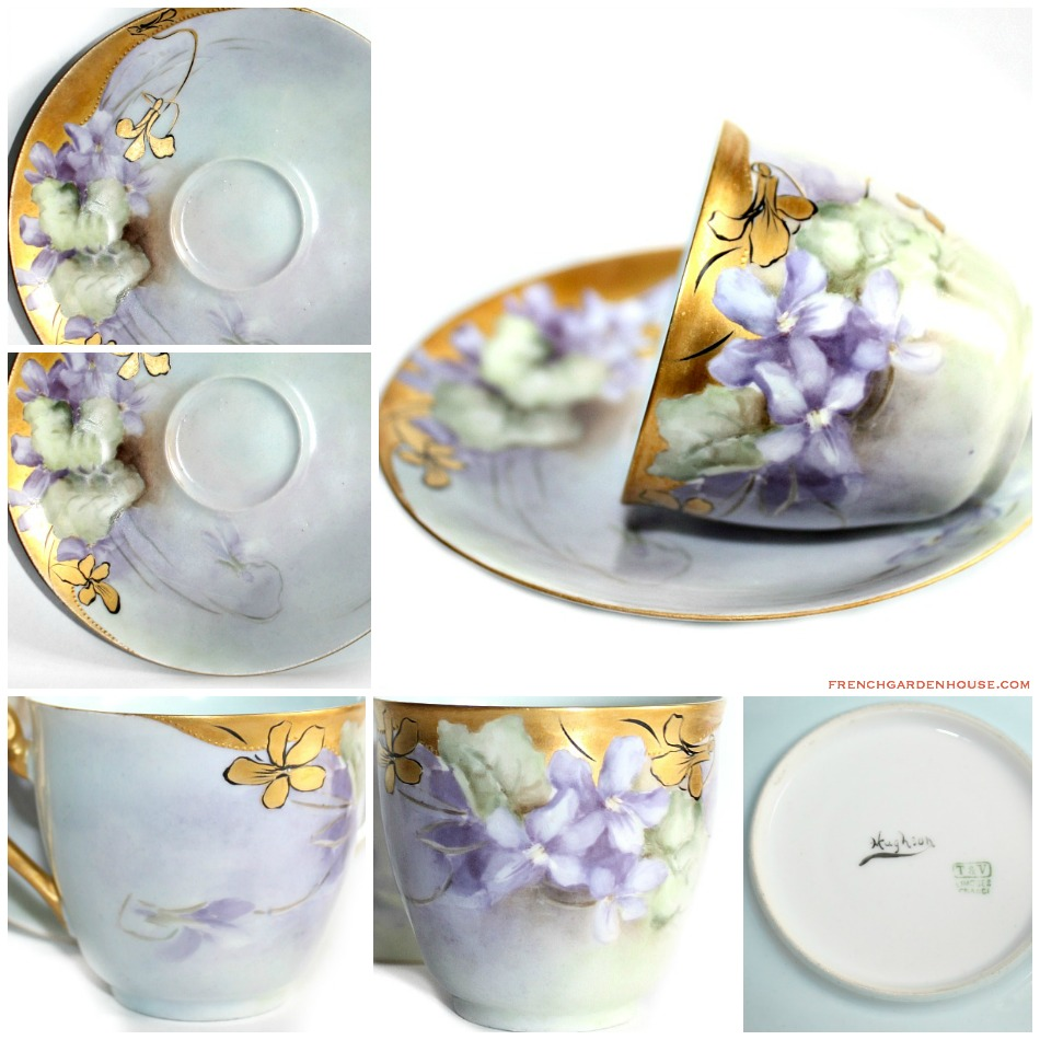 Antique French Hand Painted T & V Limoges Purple Violet Gilt Demitasse Cup & Saucer