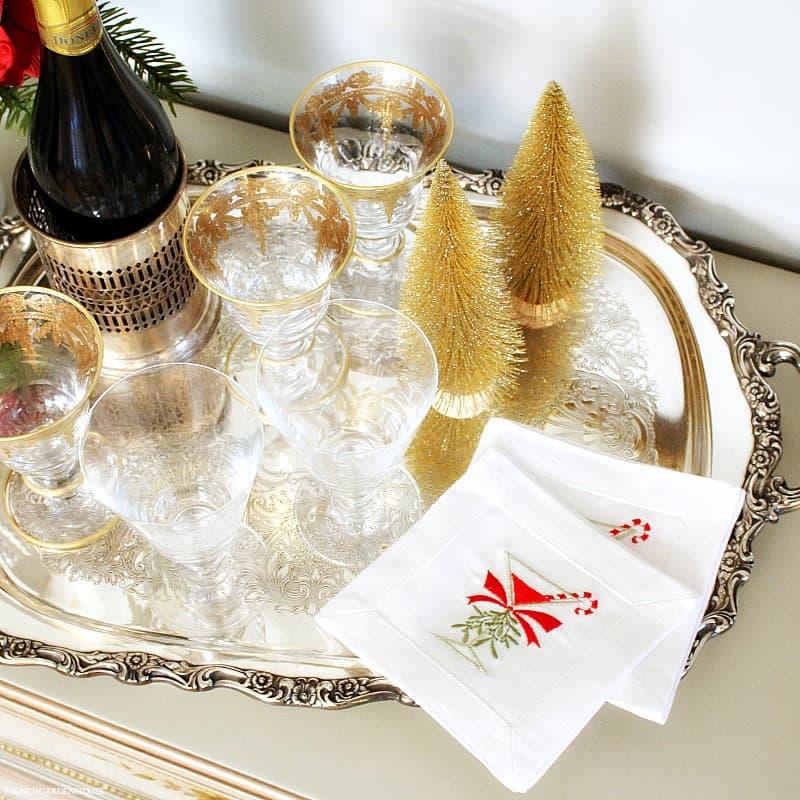 European Linen Cocktail Napkin Set of 4 Merry Cocktail!