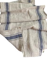 European Linen Runner Natural Blue Stripe