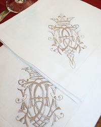 European Luxury Linen Damask Embroidered Napkin White