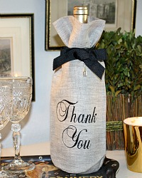 Linen Flax Wine Gift Bag with Embroidery