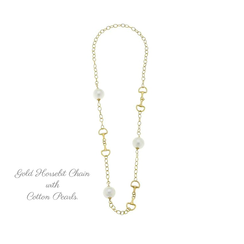 Long Gold Horse Bit Necklace with Cotton Pearls