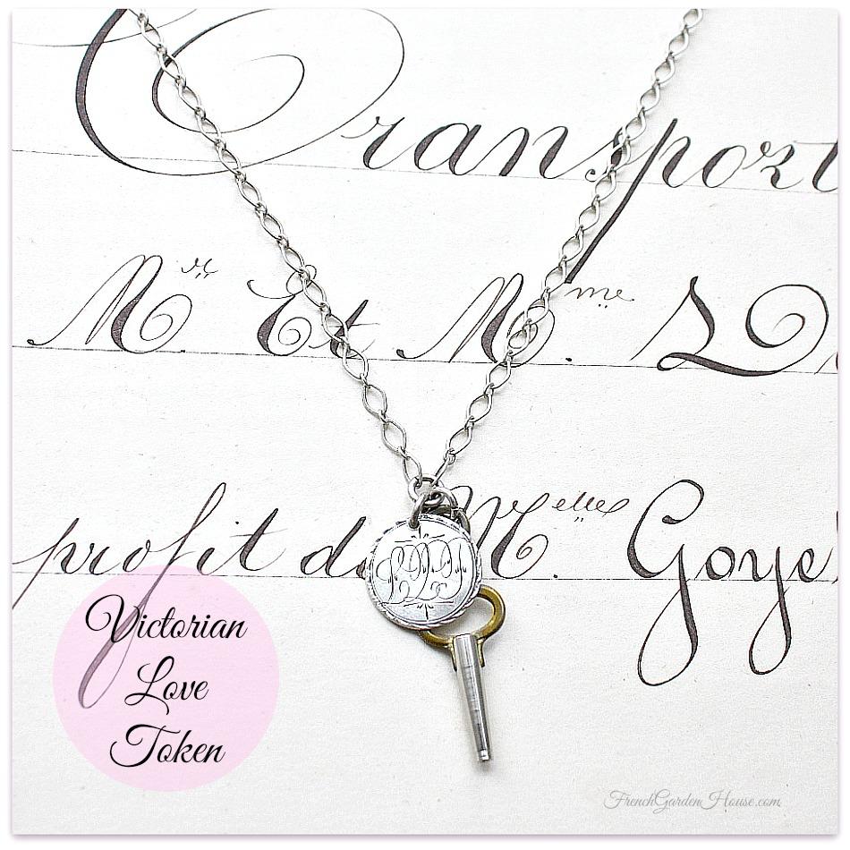 Antique Sterling Love Token Necklace 1851