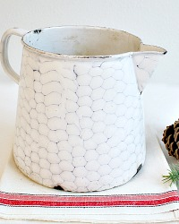 Antique French Enamelware Chicken Wire Pitcher Large