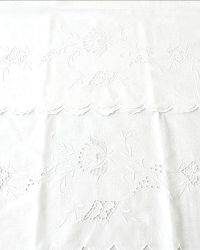Antique Whitework Floral Hand Embroidery Pillowcases Pair