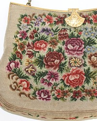 Vintage French Floral Petit Point Bag Gilt Frame