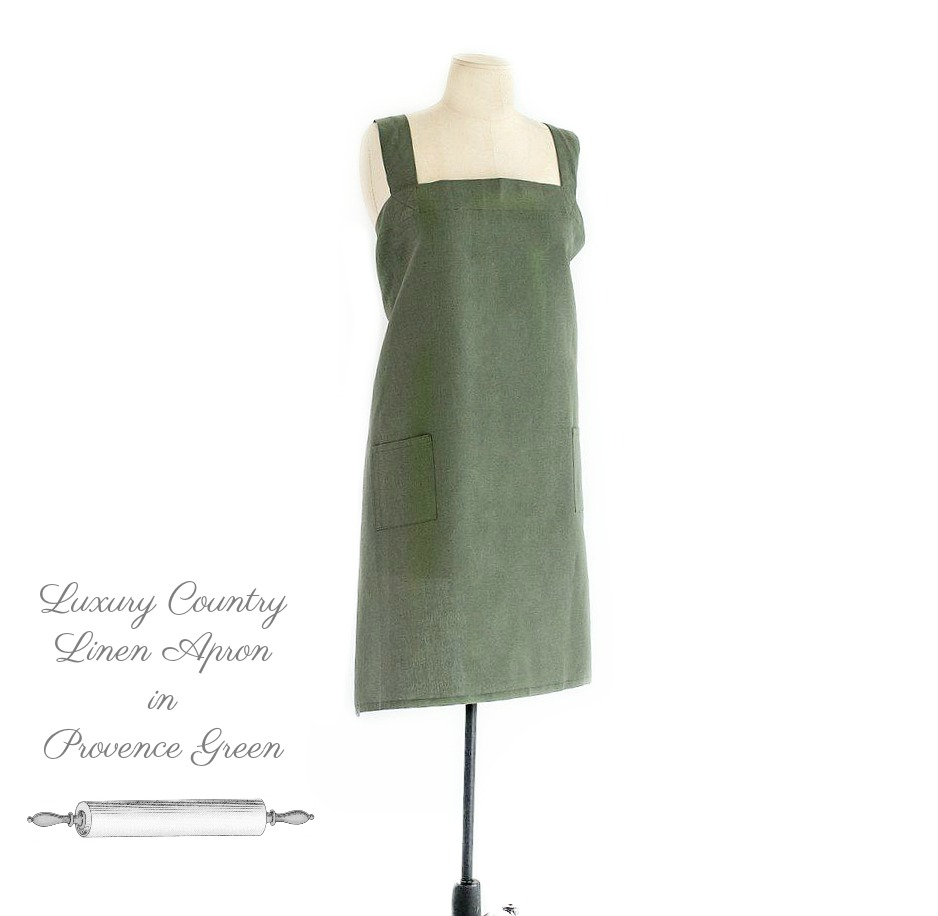 Luxury Country Linen Apron in Provence Green