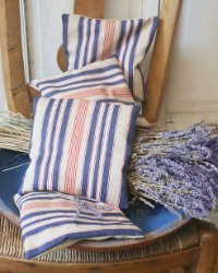 Antique French Ticking Lavender Sachet Red Navy