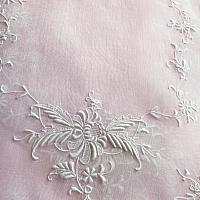 Vintage Hand Embroidered Madeira Blush Pink Organdy Place Setting for 12