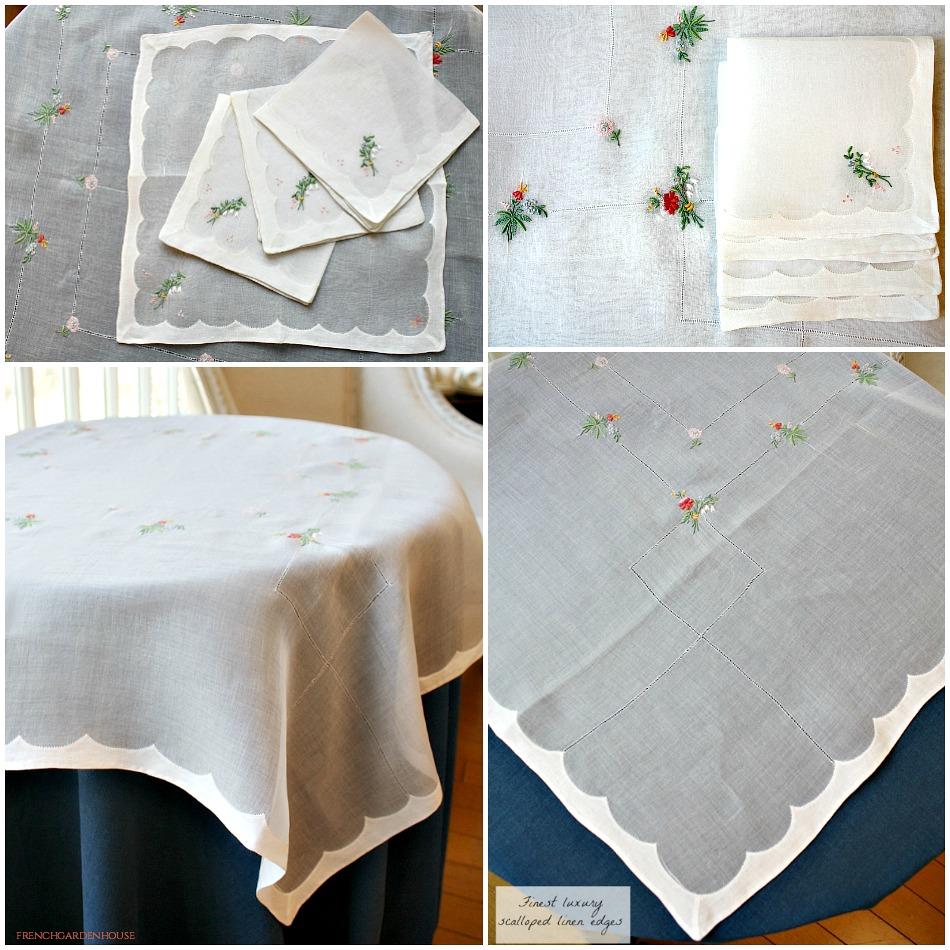 Vintage Madeira Hand Embroidered Organdy Linen Tea Cloth Napkin Set