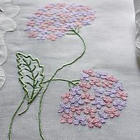 """""""Hydrangea"""" Vintage Marghab Madeira Embroidery Placemat Setting for 10"""