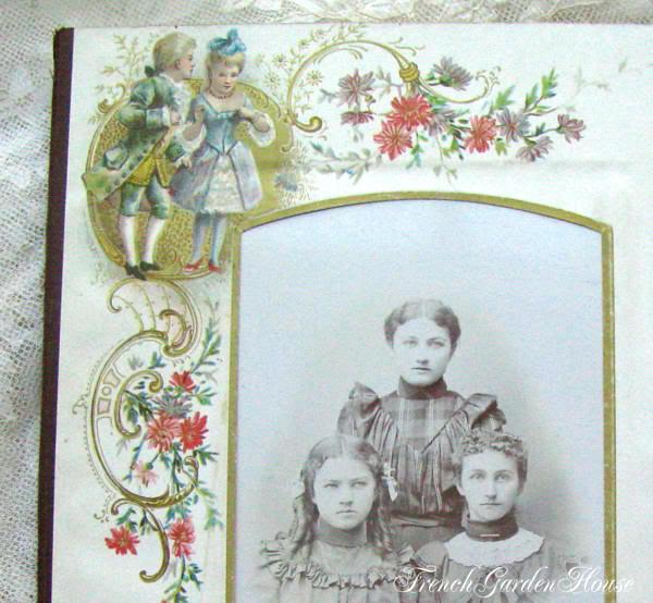 Antique Victorian Album Photograph Chromolithograph Mat