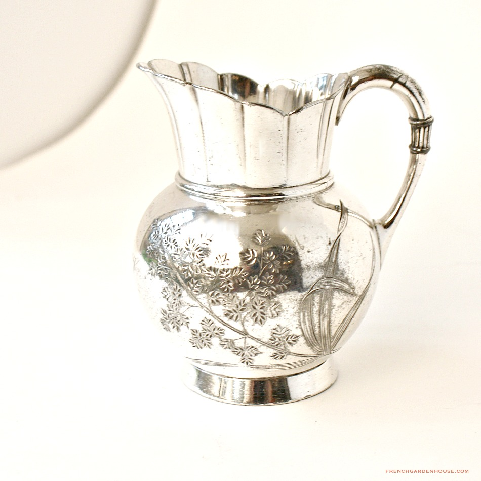 Antique Hermod Jaccard Co. Quadruple Silver Plate Floral May Pitcher