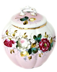 Antique Hand Painted Pink Roses Porcelain Biscuit Barrel