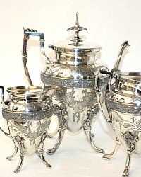 Antique Victorian Silver Meriden Ornate Floral Garden Tea Set