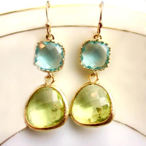 Mermaid Glass Aquamarine Earrings
