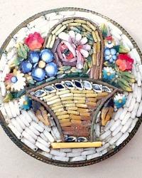 Rare Vintage Micro Mosaic Flower Basket Brooch 1930