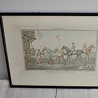Antique Aquatint Engraving Horse Racing 1836