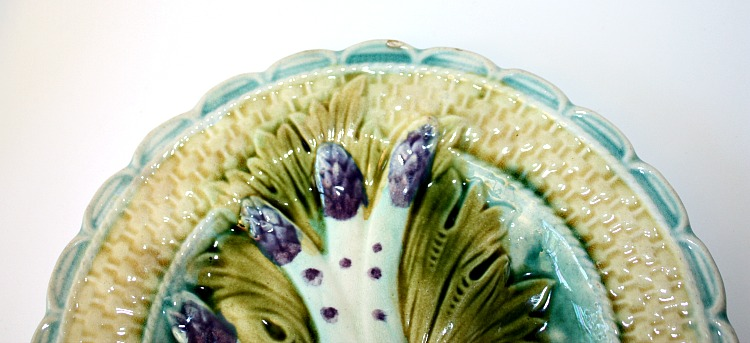 19th Century French Majolica Purple Asparagus Single Plate