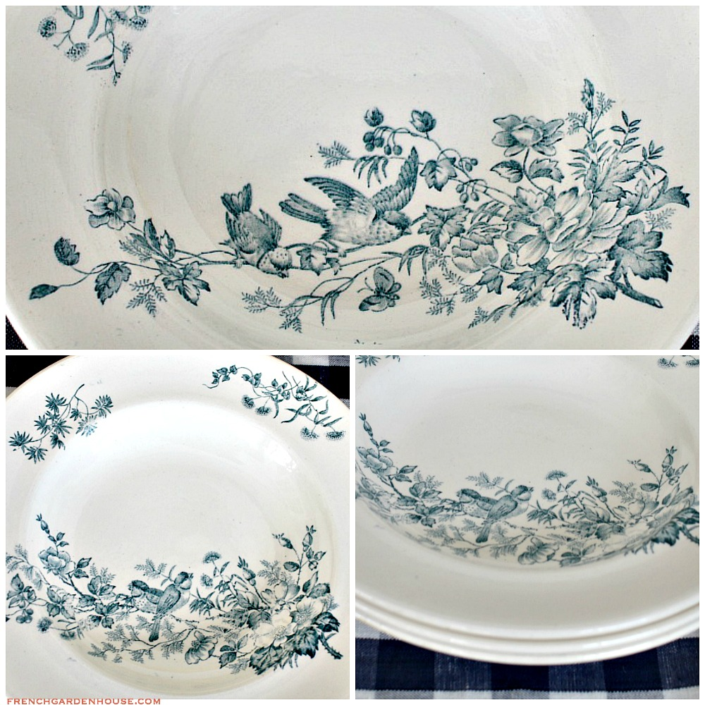 19th Century French Assiete Cruise Mignon Blue Transferware Plate Birds Set of 3