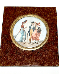 French Hand Painted Miniature Fashion Portrait Painting of a Gentleman and Ladies