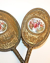 Antique Gilt Boudoir Hand Mirror & Brush Cherubs Set