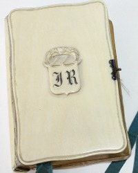 Antique French Carved Rose Crown Monogrammed Missal or Prayer Book Paroissien Romain