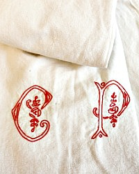 Antique French Metis Monogrammed Red CP Sheet