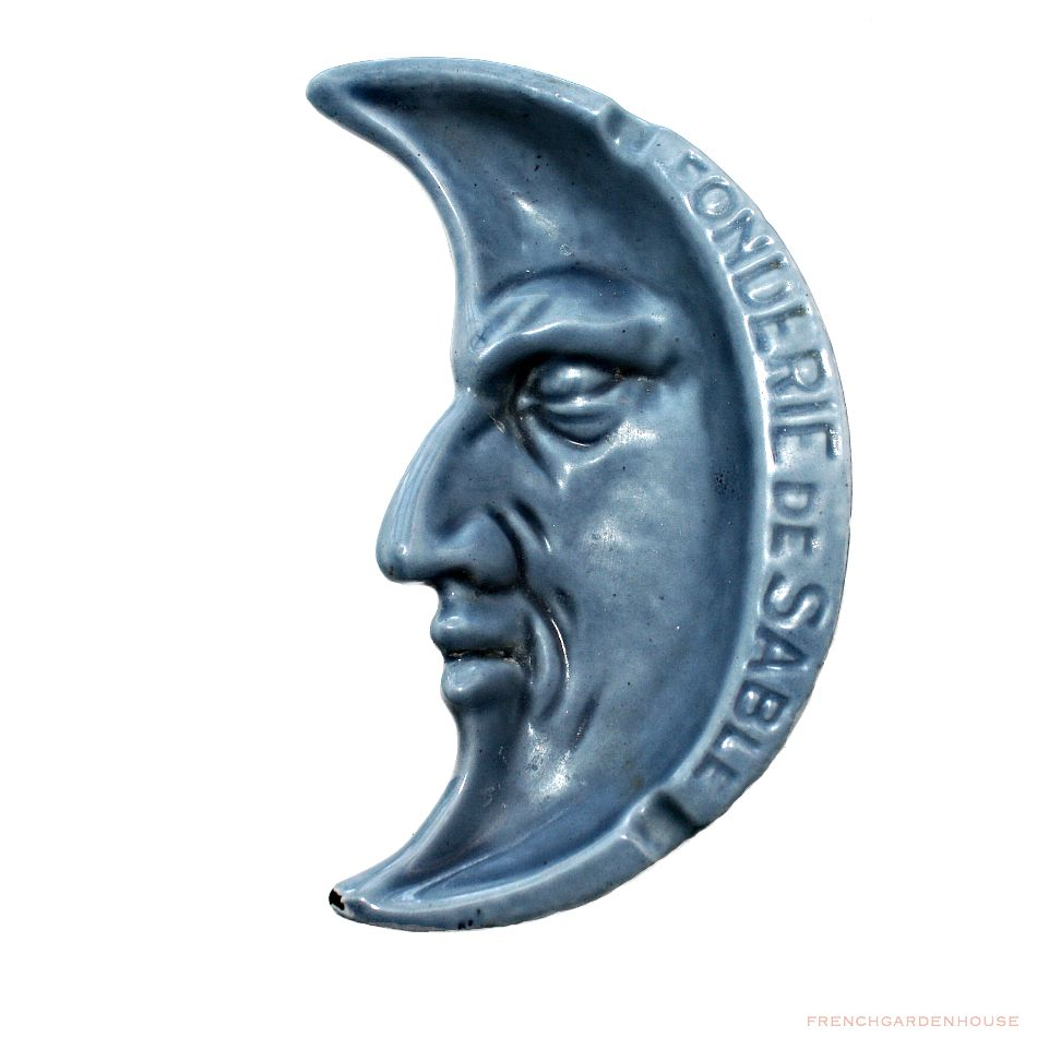 Antique French Enamelware Man in the Moon Advertising Ashtray