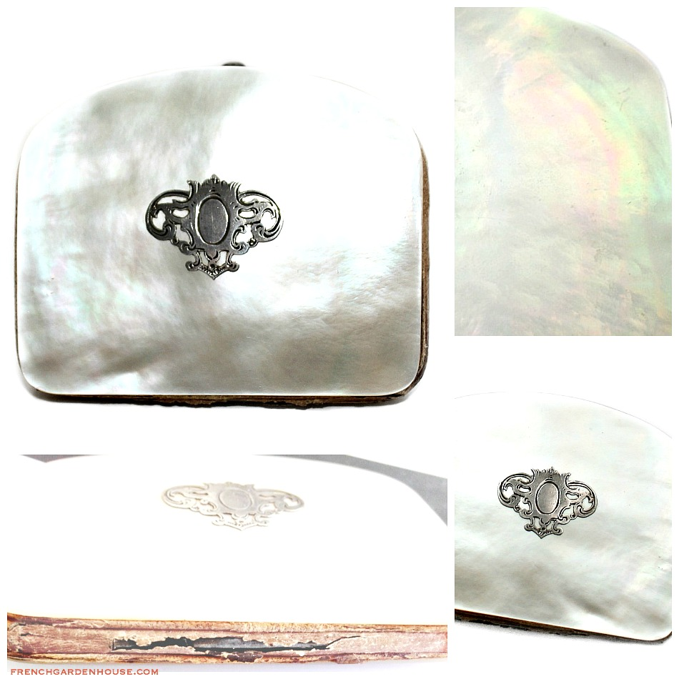Antique French Mother of Pearl, Sterling & Silk Coin Purse Necessaire Napoleon III