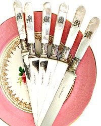 Gorgeous 6pc Antique Gorham Silver & Mother of Pearl Monogram W Knives