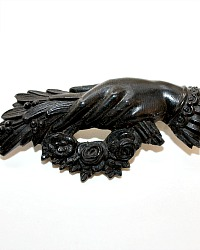 Antique Victorian Vulcanite Mourning Brooch Hand Holding Floral Wreath & Bouquet