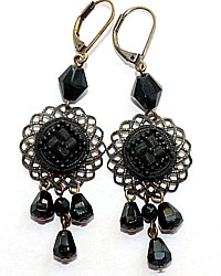 French Jet Black Earrings