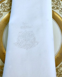 Rare Antique Noble Monogrammed Napkins Set of 8
