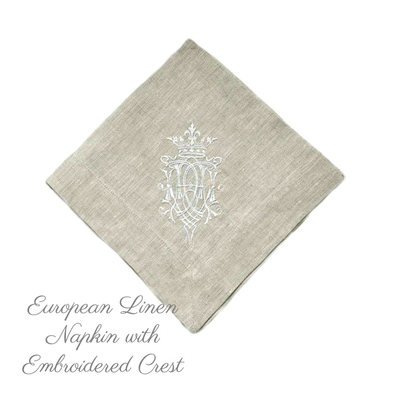European Luxury Linen Royal Crest Embroidered Napkin Natural Set of 6-LAST ONES