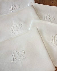 Antique French Linen Monogrammed AP Napkins Set of 6