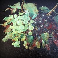 Antique Hand Painted Tole Tray with Grapes